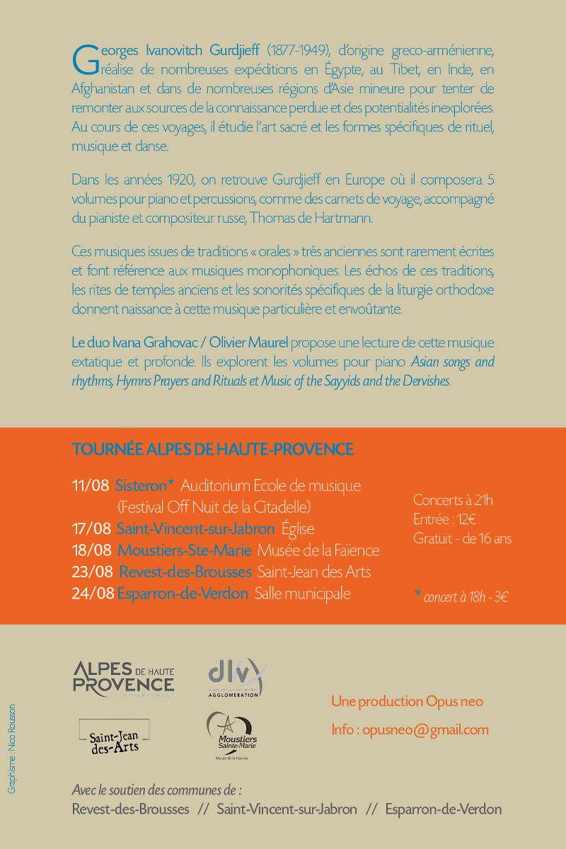 Gurdjieff Project : Ivana Grahovac Violoncelle et Olivier Maurel Piano